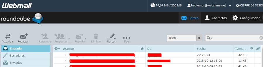 interfaz roundcube webmail