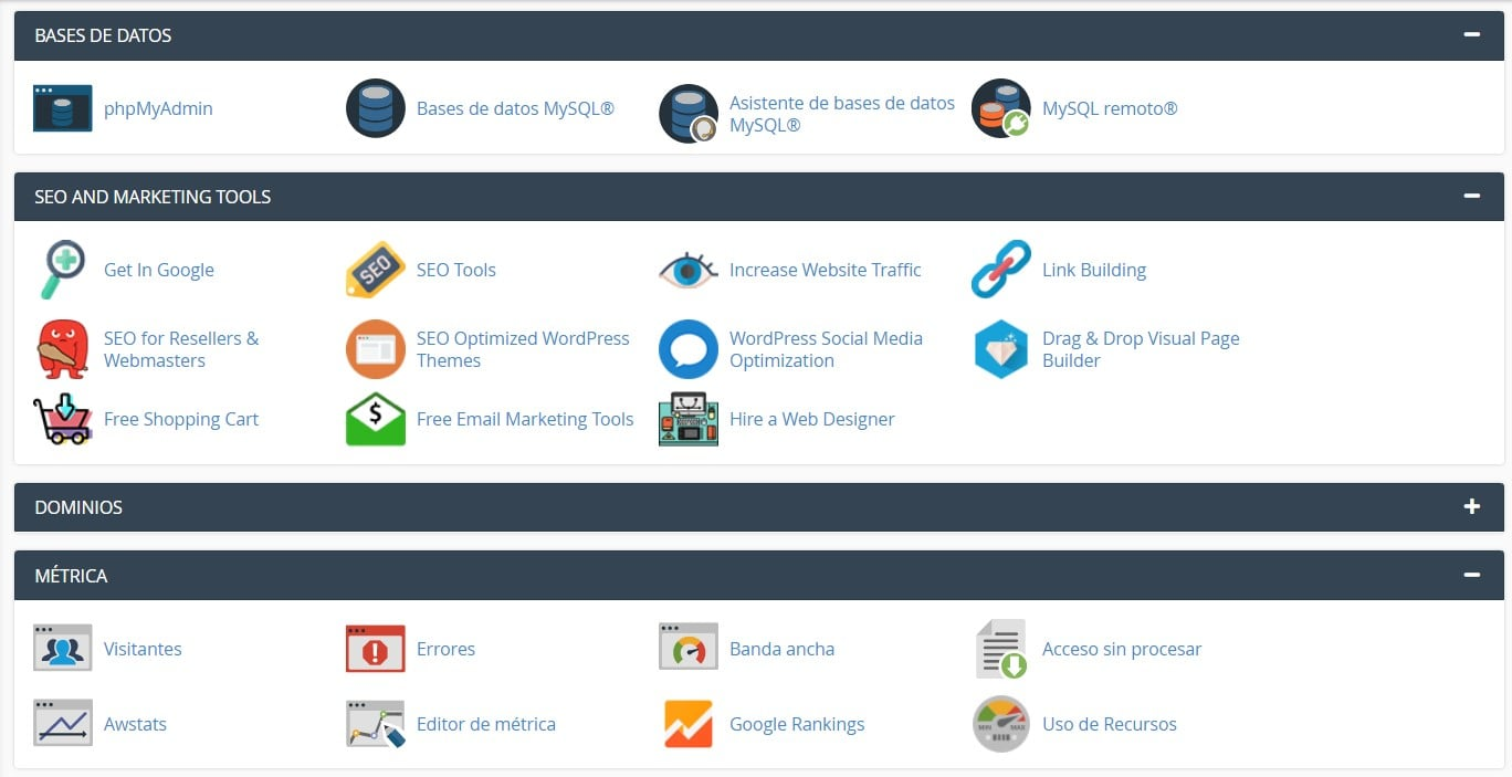 interfaces cpanel de los paquetes de hosting