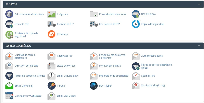 interfaz cpanel hosting