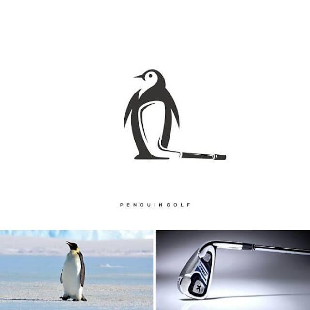logo pinguino, palo golf, badmintong