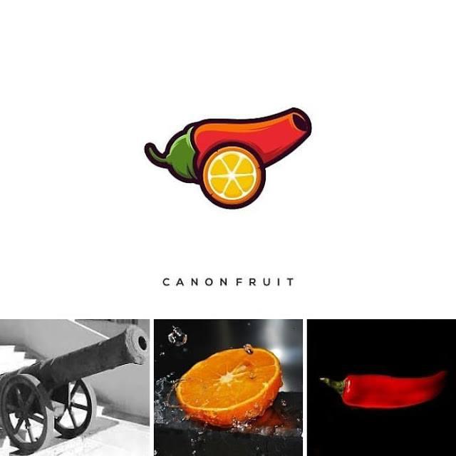 logotipo cañon naranja y aji