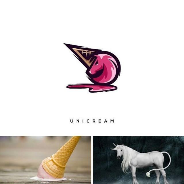 logotipo helado y unicornio